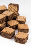 Pile of chocolate wafers biscuits Royalty Free Stock Images