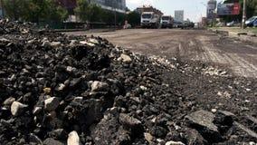 Pile of chopped asphalt. stock video