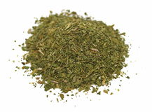 Pile chopped dried parsley leaves. Isolated on white background Stock Photography