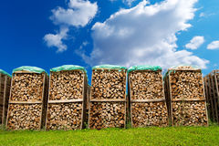 Pile of Chopped Firewood on Blue Sky Stock Image