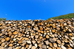 Pile of Chopped Firewood on Blue Sky Royalty Free Stock Images