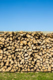 Pile of chopped firewood, green grass and blue sky Stock Photos