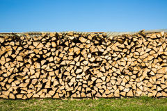 Pile of chopped firewood, green grass and blue sky Royalty Free Stock Photo