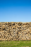 Pile of chopped firewood,green grass and blue sky Stock Photo