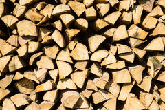 Pile of chopped firewood for winter usage Stock Photos