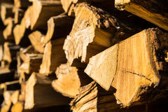 Pile of chopped firewood for winter usage Stock Images