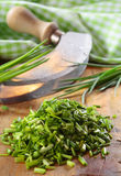 Pile of chopped fresh chives Stock Photos