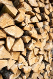 Pile of chopped wooden logs. Pile or stack of chopped wooden oak logs Royalty Free Stock Photos