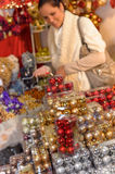Pile of Christmas balls in plastic boxes Royalty Free Stock Photography
