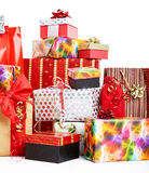A pile of Christmas gifts in colorful wrapping Royalty Free Stock Photo