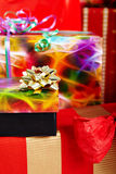 A pile of Christmas gifts in colorful wrapping Royalty Free Stock Photography