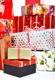 A pile of Christmas gifts in colorful wrapping Royalty Free Stock Photos