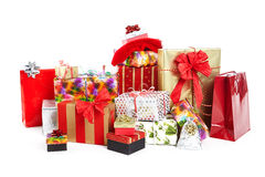 A pile of Christmas gifts in colorful wrapping Stock Images