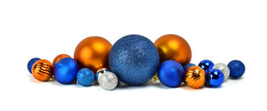 A pile of Christmas ornaments, colorful balls. / Isolated on whi Royalty Free Stock Image