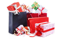 Pile of Christmas present with shopping bag Royalty Free Stock Images