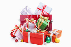 Pile of Christmas present with shopping bag Royalty Free Stock Photography