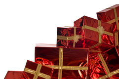 Pile of Christmas presents on white background Royalty Free Stock Photography