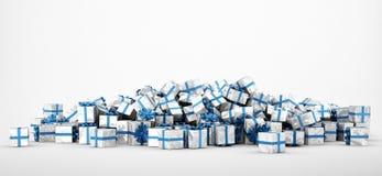 Pile of christmas presents on white background stock illustration
