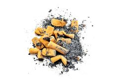 A pile of cigarette stubs butts & ash Royalty Free Stock Image