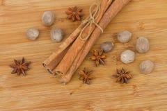 Pile of cinnamon,  anise  and nutmeg Stock Photos