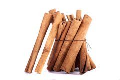 Pile of cinnamon spice quills Royalty Free Stock Photo