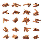 Pile of cinnamon sticks isolated stock images
