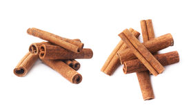 Pile of cinnamon sticks isolated Royalty Free Stock Photography