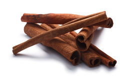 Pile of cinnamon sticks, paths Royalty Free Stock Images