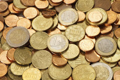 Pile of Circulated Modern Euro Coins. A pile of used, circulated, modern, Euro coins. All of the current Euro coin denominations are represented in this image in Royalty Free Stock Photography