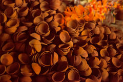 Pile of clay diya (lights) in market Royalty Free Stock Photography