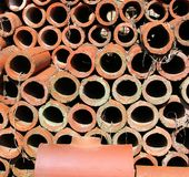 A Pile of Clay Pipes Stock Photo