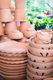 Pile of clay pots for plants Stock Photos
