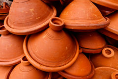 Pile of clay tangine cooking pots Stock Image