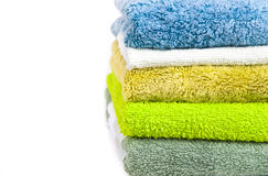 Pile of clean colored towels Royalty Free Stock Image