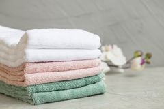 Pile of clean cotton bath towels Royalty Free Stock Photography