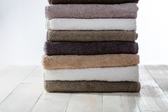 Pile of clean soft towels for hotel or laundry concept Stock Image
