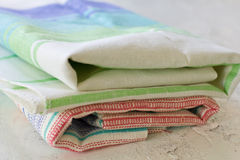 Pile of clean stripped kitchen towels Royalty Free Stock Photography