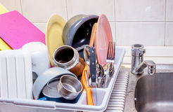 Pile of clean tableware Royalty Free Stock Photo