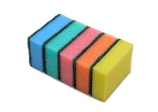 Pile of cleaning sponge, isolated. Pile of cleaning colored sponge, isolated on the white background Stock Photo