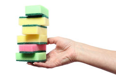 Pile of cleaning sponges in hand Royalty Free Stock Images