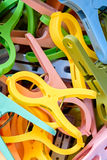 Pile of clothes peg. Closeup pile of colorful still life clothes peg royalty free stock photos