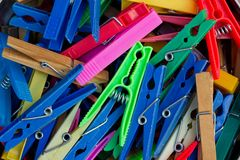 Pile of clothes pegs Stock Photo