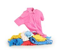 Pile of clothes on white royalty free stock photo