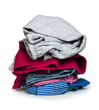 Pile of clothes white isolated Stock Photos