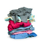 Pile of clothes white isolated Royalty Free Stock Photo