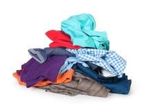 Pile of clothing. Isolated on white Royalty Free Stock Photo