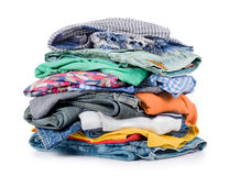 Pile of clothing. Isolated on white Stock Images