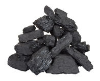 Pile of coal. On white background stock image
