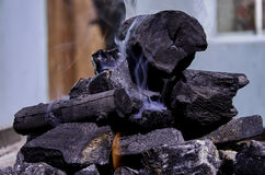 Pile of coal burning Royalty Free Stock Photo