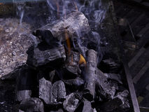 Pile of coal burning Royalty Free Stock Photography